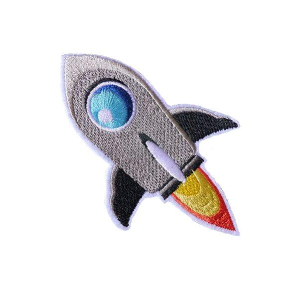 Space Patch Raket Grijs